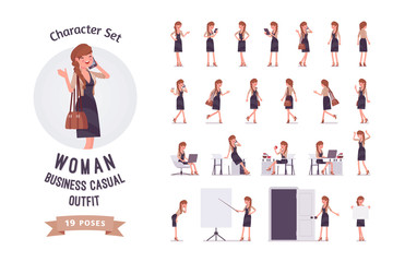 Pretty female office employee ready-to-use character set