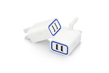 View of combo pack of white power adapter and highlighted with blue mark. With this adapter lets you connect a universal solution that allows you to connect to any standard wall outlet.