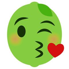 Kussmund mit Herz Emoticon - Limette