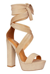 Hottest beige color tie up styles high heel with vegan leather. This single sole heel has toe strap, heel cup, and long laces that wrap and tie around the ankle.
