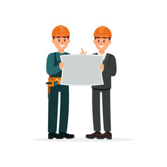 Construction engineer or architect and foreman in hardhats with architectural plan vector Illustration n a white background