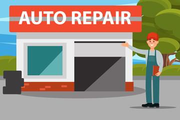 Car repair auto service center, mechanics in uniform doing a welcome gesture flat vector illustration