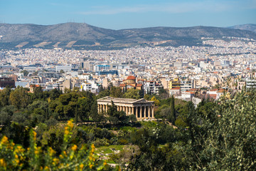View to Hephaestus Temple from Acropolis, Athens, Greece