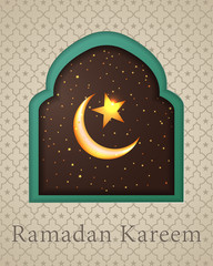 Modern Ramadan Kareem background icon vector illustration design graphic with islamic crescent moon 3D.