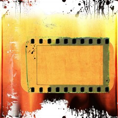 Grunge dripping banner or frame in red and yellow tones.