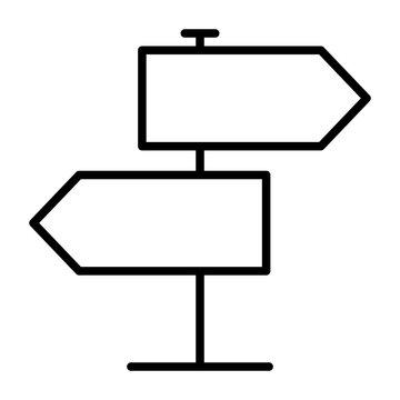 Signpost Line Icon. Vector Simple Minimal 96x96 Pictogram