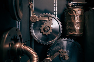 An ancient vintage wall with mechanisms in the steampunk style.