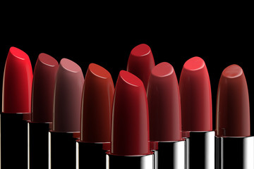 3D rendering of a group of lipsticks of different colors