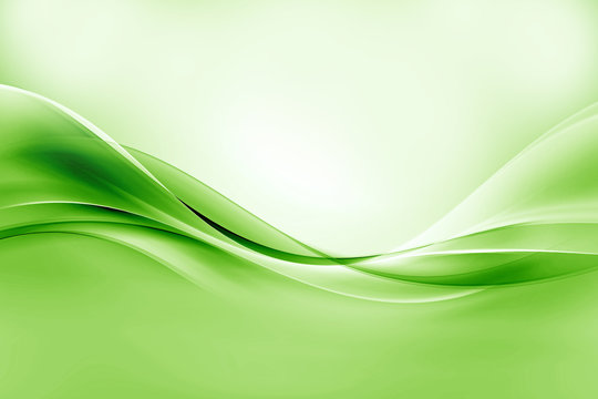 Green bright waves art. Blurred effect background. Abstract creative graphic design. Decorative fractal style.
