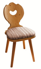 wooden chair with a soft seat, isolated on white background