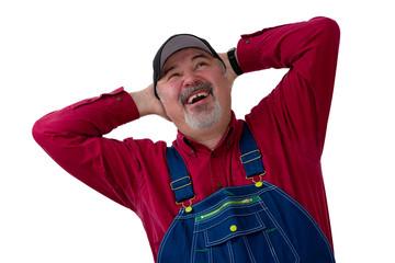 Joyful farmer or worker laughing in delight