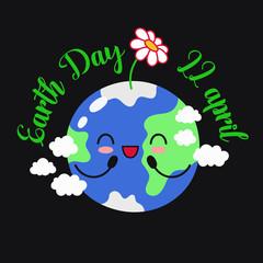 Vector illustration, earth day. 22 April. Banner, advertising, postcard. Cartoon doodle illustration