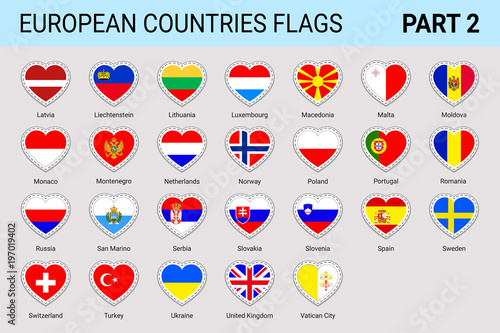 European Flags Stickers Set Vector European Flags Collection