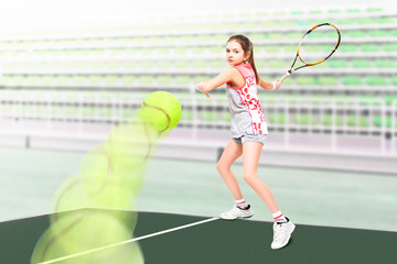 Portrait of a young beautiful girl tennis player on the background stadium