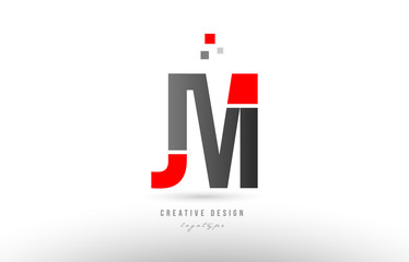 red grey alphabet letter jm j m logo combination icon design