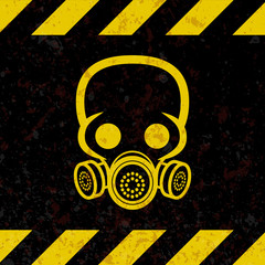 The label is a chemical hazard. A sign of chemical threat, in the style of grunge, ripple on a dark background with yellow stripes. Vector illustration.