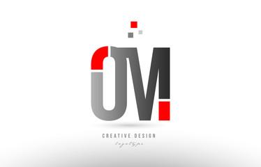 red grey alphabet letter om o m logo combination icon design