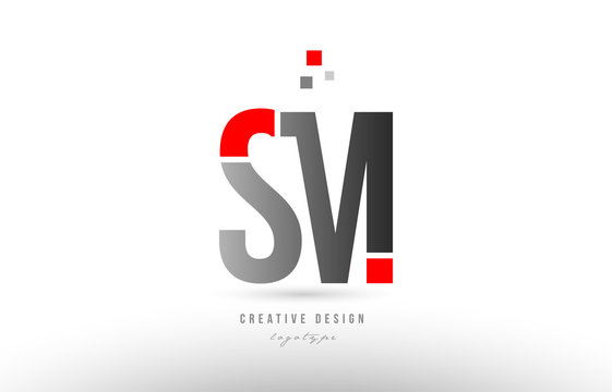 red grey alphabet letter sm s m logo combination icon design