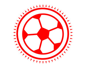 red soccer ball icon sport equipment tool utensil image vector