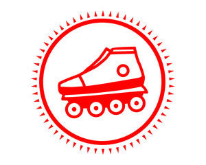 red roller blade icon sport equipment tool utensil image vector