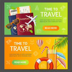 Summer Travel and Tourism Service Banner Horizontal Set. Vector