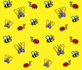 Cartoon insects children's pattern. A butterfly, a bee, a ladybug in the style of doodle is a seamless pattern