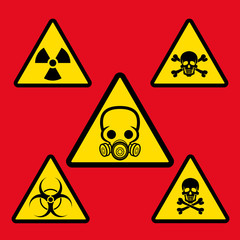 Warning signs of danger. Signs of danger are chemical hazards, bacteriological danger, radiation, and skulls. signs in yellow triangles. Vector illustration.