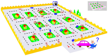 Logic puzzle game with labyrinth. Find the way till petrol station and turn back respecting traffic signs. U-turns are prohibited. Vector image.
