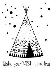 Black and white art, winter wigwam
