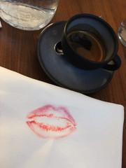 Lipstick kiss and black coffee