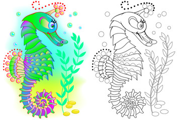 Colorful and black and white pattern for coloring. Illustration of fairytale seahorse. Worksheet for children and adults. Vector image.