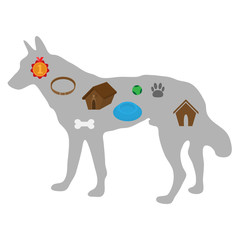 Conceptual infographics. The image of a dog with objects of a life of the pet. doghouse, bones and foot marks, dog meal, game ball and collar