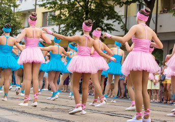 Dancer girls in costume at the carnival