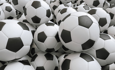 Many Soccer balls - 3D Rendering