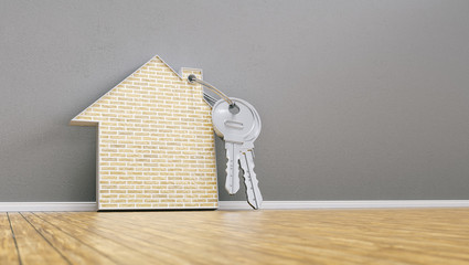house with bricks and keys leaning on wall, financing concept - 3D Rendering