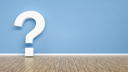 question mark on a blue wall,  including Copy space, FAQ concept image - 3D Rendering