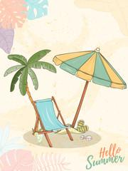 Hand drawn holiday travel card