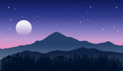 Majestic mountains in a beautiful starry night. Nature landscape with moon and blue-purple sky. Outdoor vector illustration.