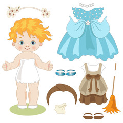 Cinderella - Paper doll with clothes before and after the dance