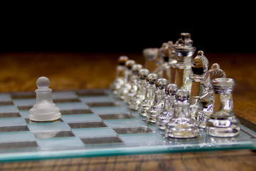 Glass Chess Set with Single Pawn