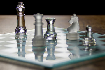 Assorted Glass Chess Pieces