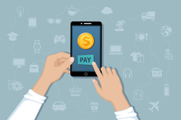 Online mobile payment, money transfer service. Pay for goods and services by cashless payments. Hand holding a phone with a gold coin. Vector