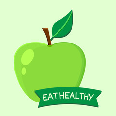 Eat healthy. Fruits. Apple. One page of set. Vector illustration