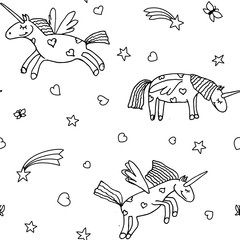 Vector illustration of seamless pattern from cartoon unicorns. Coloring page book for children. Cute background