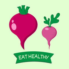 Eat healthy. Vegetables. Beet and radish. One page of set. Vector illustration