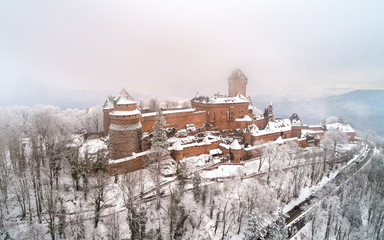 Winter view of the Chateau du Haut-Koenigsbourg in the Vosges mountains. Alsace, France