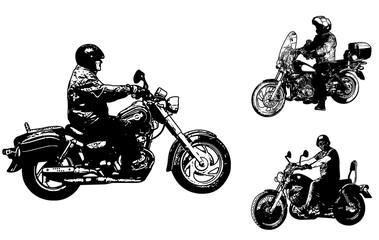 Wall Mural - vintage motorcycles sketch illustration - vector
