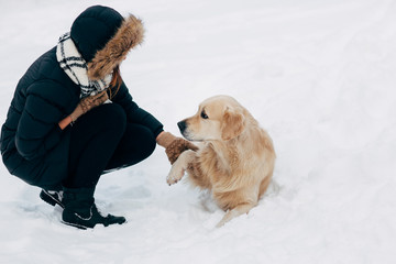 Image of labrador giving paw to girl in winter park