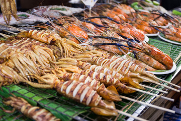 Thai seafood Grilled squid is a street food Bangkok of Thailand.