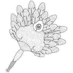 Fan of feathers. Anti stress coloring, vector for adults.